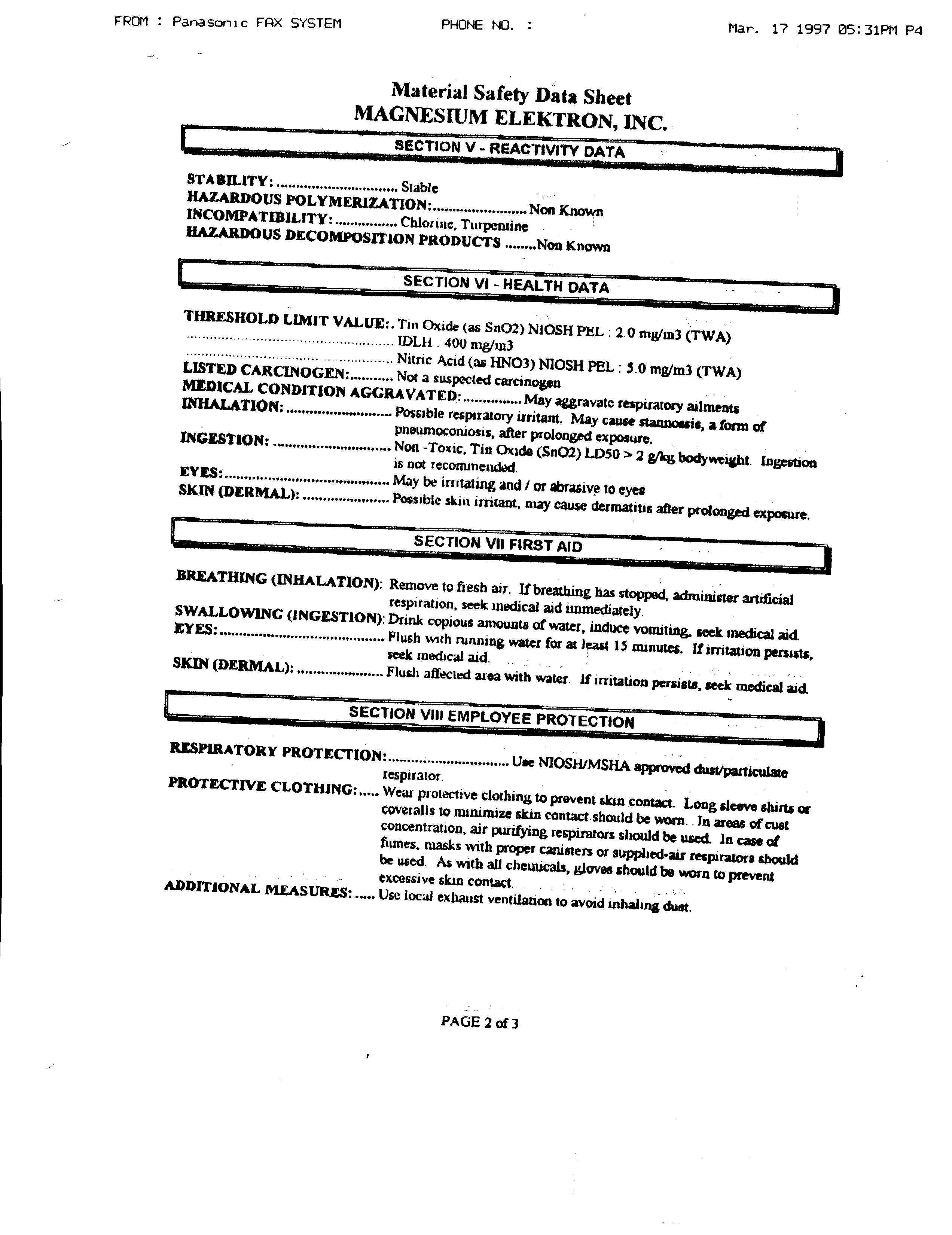 Safety Data Sheets Material Columbus Clay Company 4511 Datasheet File 2